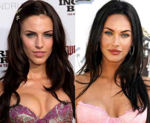 Megan Fox and Jessica Lowndes celebrities who are incredibly similar